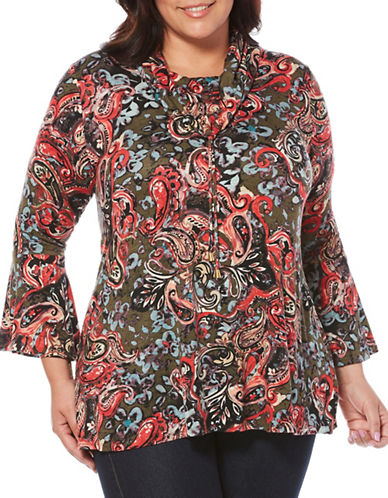 Rafaella Plus Printed Cowl-Neck Blouse-RED-2X