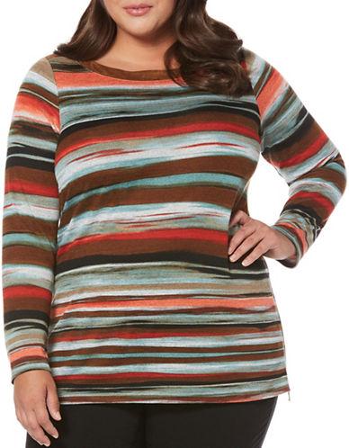 Rafaella Plus Blended Stripe Print Sweatshirt-BLACK-1X