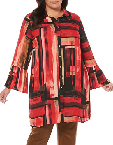 Rafaella Plus Printed Bell Sleeve Tunic-RED-16W