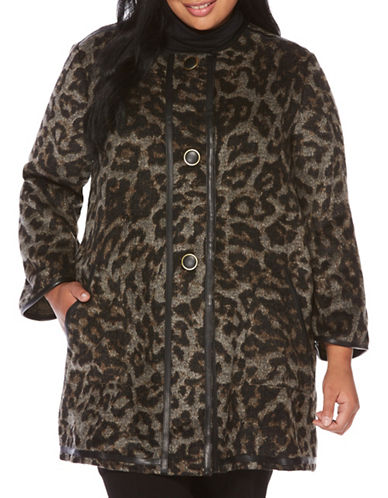 Rafaella Plus Cheetah Print Coat-BLACK MULTI-1X