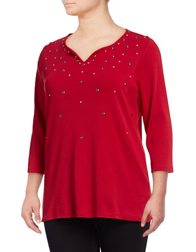 Rafaella Plus Embellished Cotton Tunic-RUBY-1X