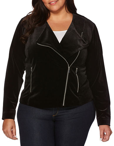 Rafaella Plus Wide Lapel Velvet Jacket-BLACK-22W