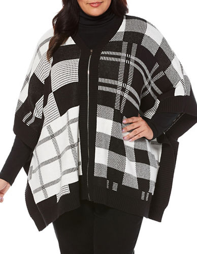 Rafaella Plus Printed Weekend Poncho-BLK/EGRET-1X