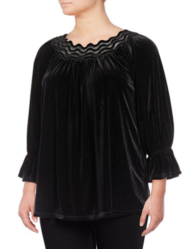 Rafaella Plus Liquid Velvet Peasant Blouse-BLACK-3X