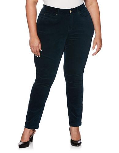 Rafaella Plus Velvet Skinny Jeans-GREEN-16W
