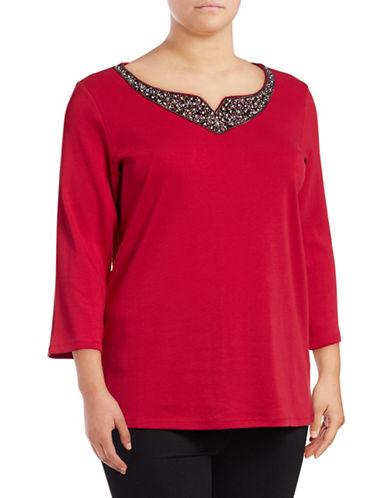 Rafaella Plus Embellished Cotton Blouse-RED-2X