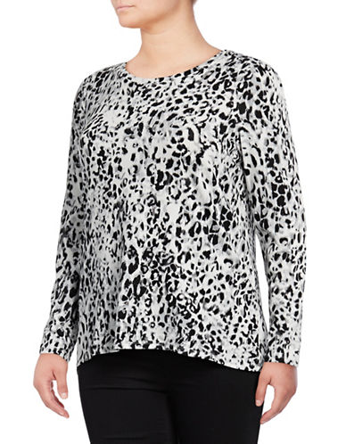 Rafaella Plus Plus Cheetah Print Top-BLACK-1X