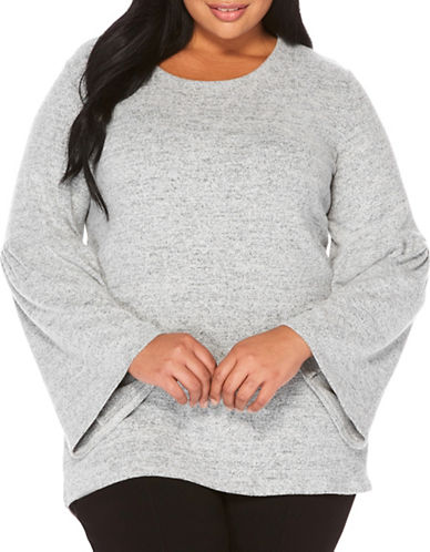 Rafaella Plus Heathered Bell Top-GREY-2X