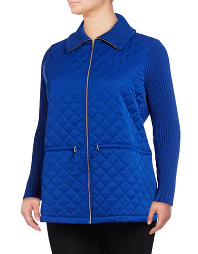 Rafaella Plus Rib Zip Sweater-BLUE-1X
