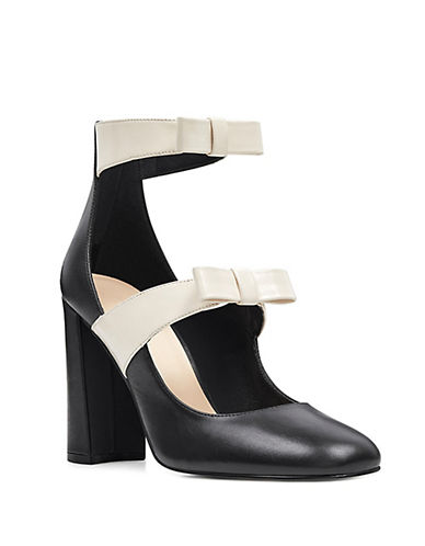 Nine West Dannell Leather Mary Jane-BLACK/WHITE-8