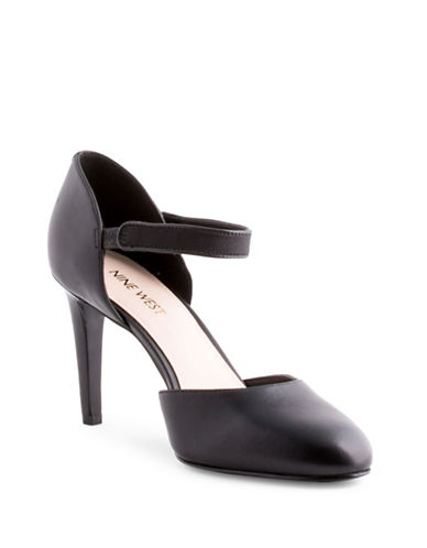 Nine West Hansine Leather DOrsay Pumps-BLACK-9