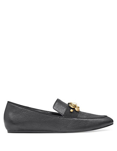 Nine West Embellished Leather Loafers-BLACK-8.5