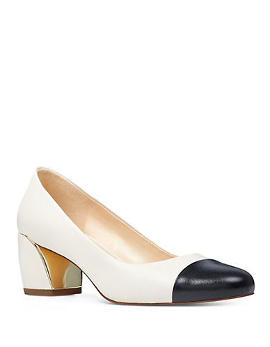 Nine West Jineya Cap-Toe Leather Pumps-WHITE-6.5