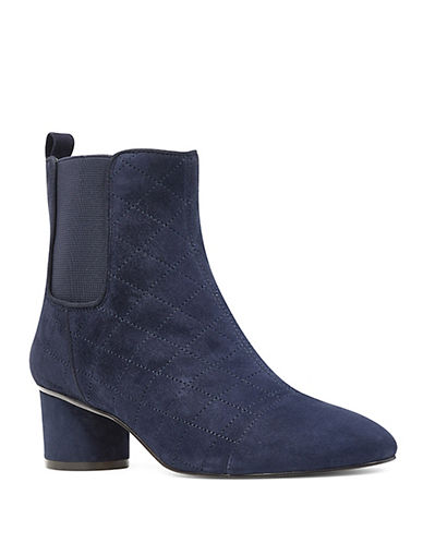 Nine West Interrupt Quilted Suede Chelsea Boots-NAVY-7.5