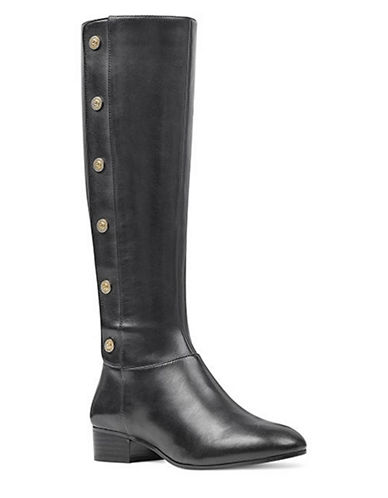 Nine West Studded Leather Knee-High Boots-BLACK-10.5