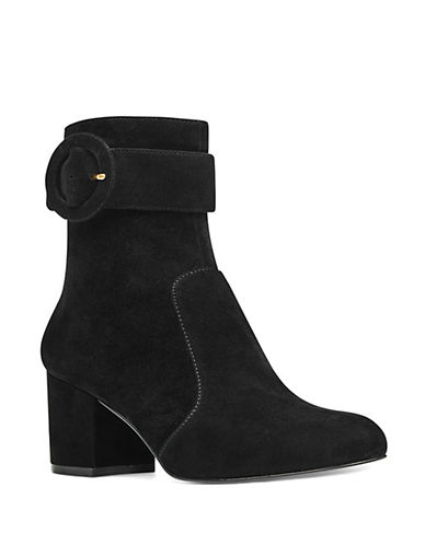 Nine West Quilby Velvet Booties-BLACK SUEDE-6.5