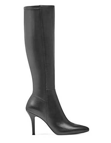 Nine West Seamed Knee-High Leather Boots-BLACK-7