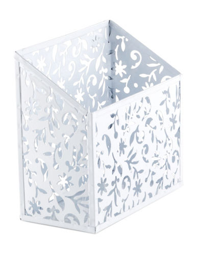 Design Ideas Floral Cut-Out Magnetic Bin-WHITE-One Size