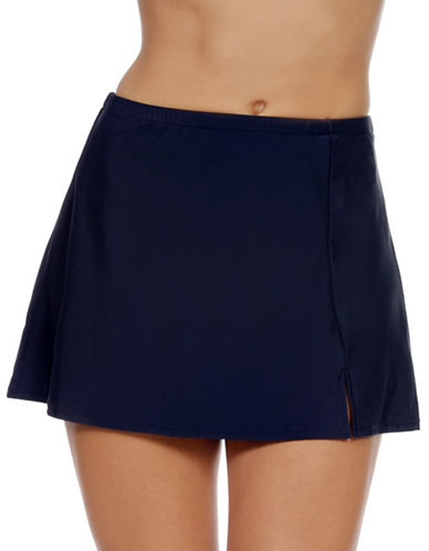 Penbrooke Plus Solids Skirted Swim Bottom-NAVY-18W