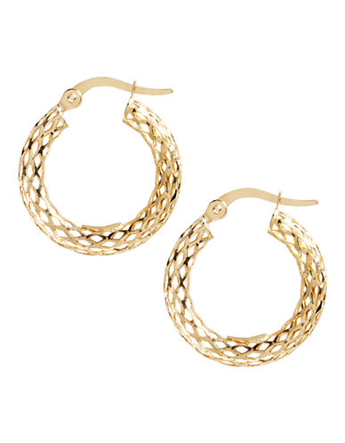 Fine Jewellery 14K Yellow Gold Mesh Hoop Earrings-YELLOW GOLD-One Size