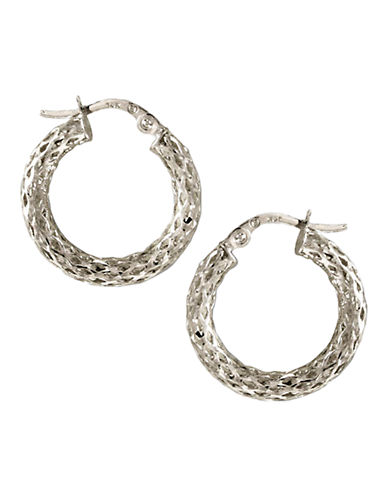 Fine Jewellery 14K White Gold Glitter Mesh Hoop Earrings-WHITE GOLD-One Size