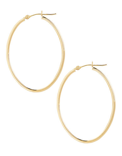 Fine Jewellery 14K Yellow Gold Oval Hoop Earrings-YELLOW GOLD-One Size