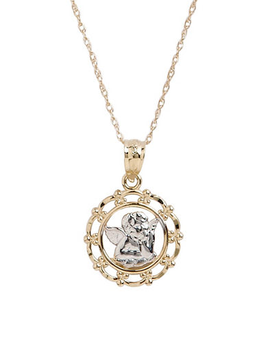 Fine Jewellery 14K Yellow Gold Resting Angel Pendant-TWO TONE-One Size