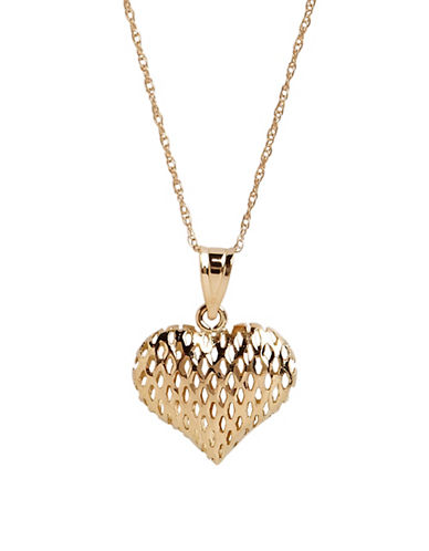 Fine Jewellery 14K Yellow Gold Open Mesh Heart Necklace-YELLOW GOLD-One Size