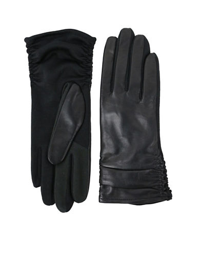Lord & Taylor Ruched Back Gloves-BLACK-Small/Medium