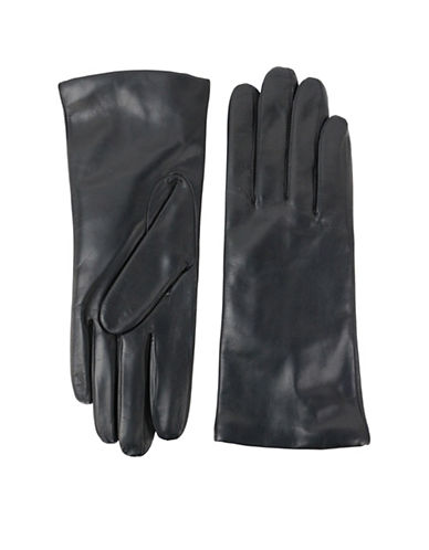 Lord & Taylor Three-Button Leather Gloves-BLACK-8