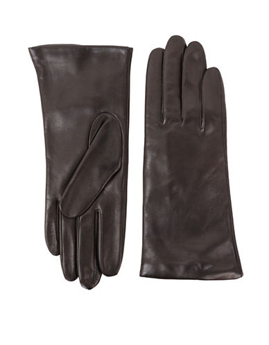 Lord & Taylor Three-Button Leather Gloves-BROWN-6.5