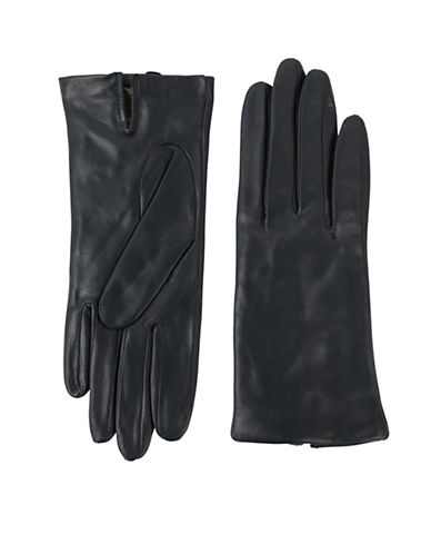 Lord & Taylor Two-Button Leather Gloves-BLACK-6.5