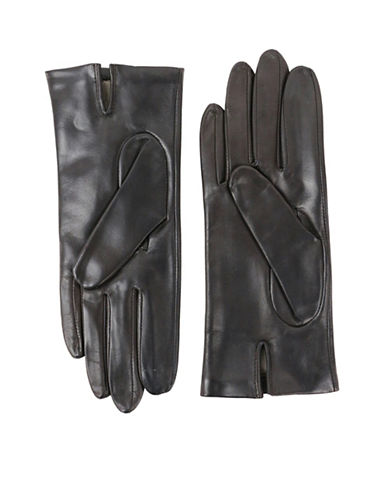 Lord & Taylor Two-Button Leather Gloves-BROWN-6.5