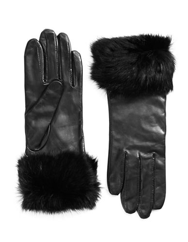 Lord & Taylor Wrist Length Fur Cuffed Gloves-BLACK-7.5