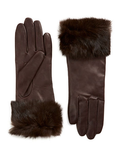 Lord & Taylor Wrist Length Fur Cuffed Gloves-BROWN-6
