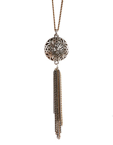 Lucky Brand Two-Tone Openwork Tassle Necklace-SILVER TONE-One Size