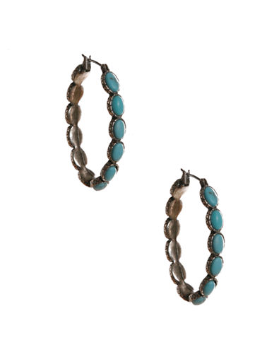 Lucky Brand silver-tone turq inlay hoop earrings-TURQUOISE-One Size