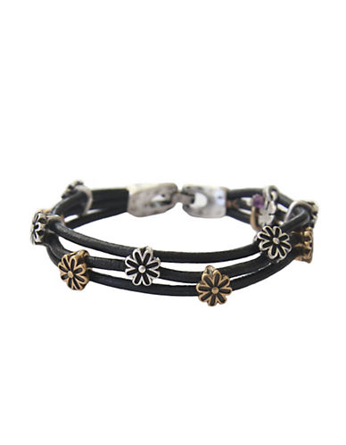 Lucky Brand Two-Tone Flower Woven Bracelet-BLACK-One Size