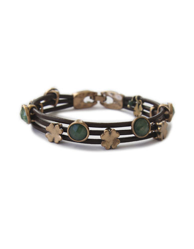 Lucky Brand Green Stone Woven Leather Bracelet-GREEN-One Size