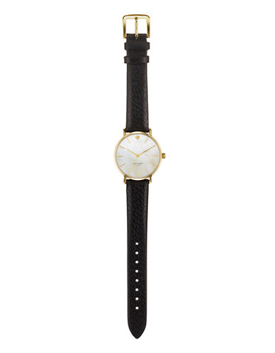 Kate Spade New York Classic Gold Metro With Black Strap Watch-BLACK-One Size
