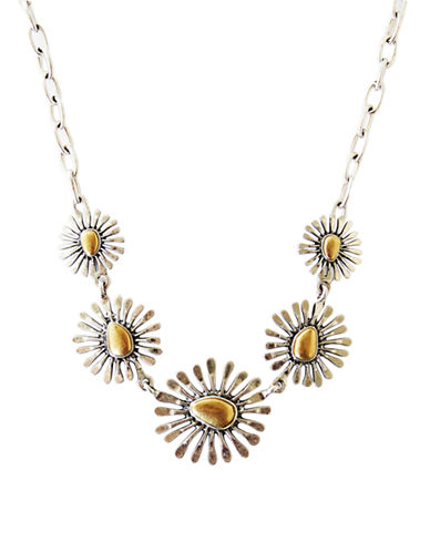 Lucky Brand silver/gold-tone floral collar necklace-GOLD-One Size