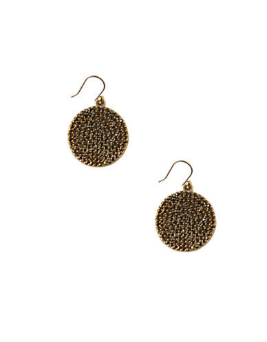 Lucky Brand Pave Disk Drop Earrings-BROWN-One Size