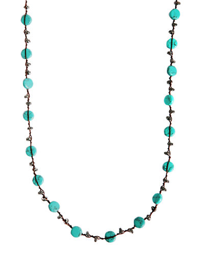 Lucky Brand silver-tone turq hammered coin necklace-TURQUOISE-One Size