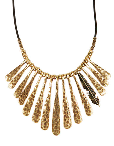 Lucky Brand Gold-Tone Fan Leather Necklace-GOLD-One Size