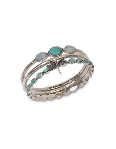 Lucky Brand Silver-tone turq bangle set bracelet-TURQUOISE-One Size