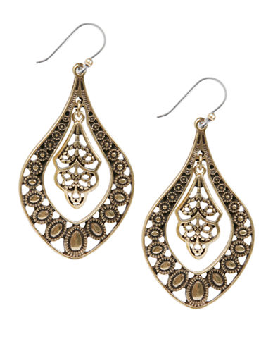 Lucky Brand Lucky Brand Filligree Oblong Earrings-GOLD-One Size