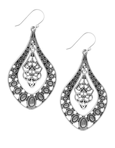 Lucky Brand Lucky Brand Filligree Oblong Earrings-SILVER-One Size