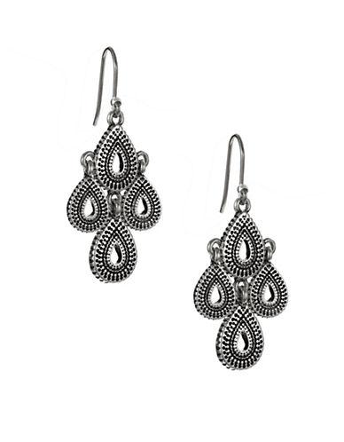 Lucky Brand Teardrop Chandelier Earrings-SILVER-One Size