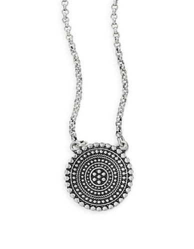 Lucky Brand Medallion Pendant Necklace-SILVER-One Size