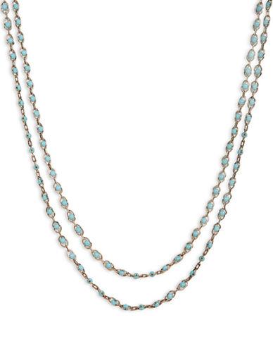 Lucky Brand Lucky Brand Necklace Gold Tone Blue Strand Necklace-BLUE-One Size
